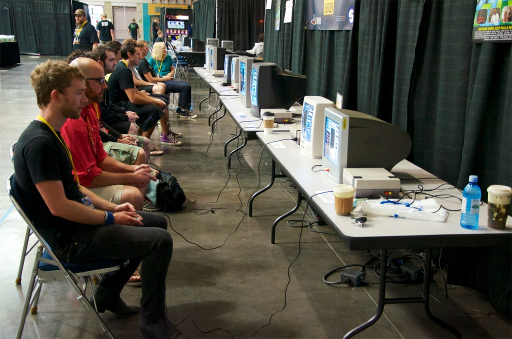 Competitors in the 2012 Classic Tetris World Championship warm up before their Round of 16 matches.