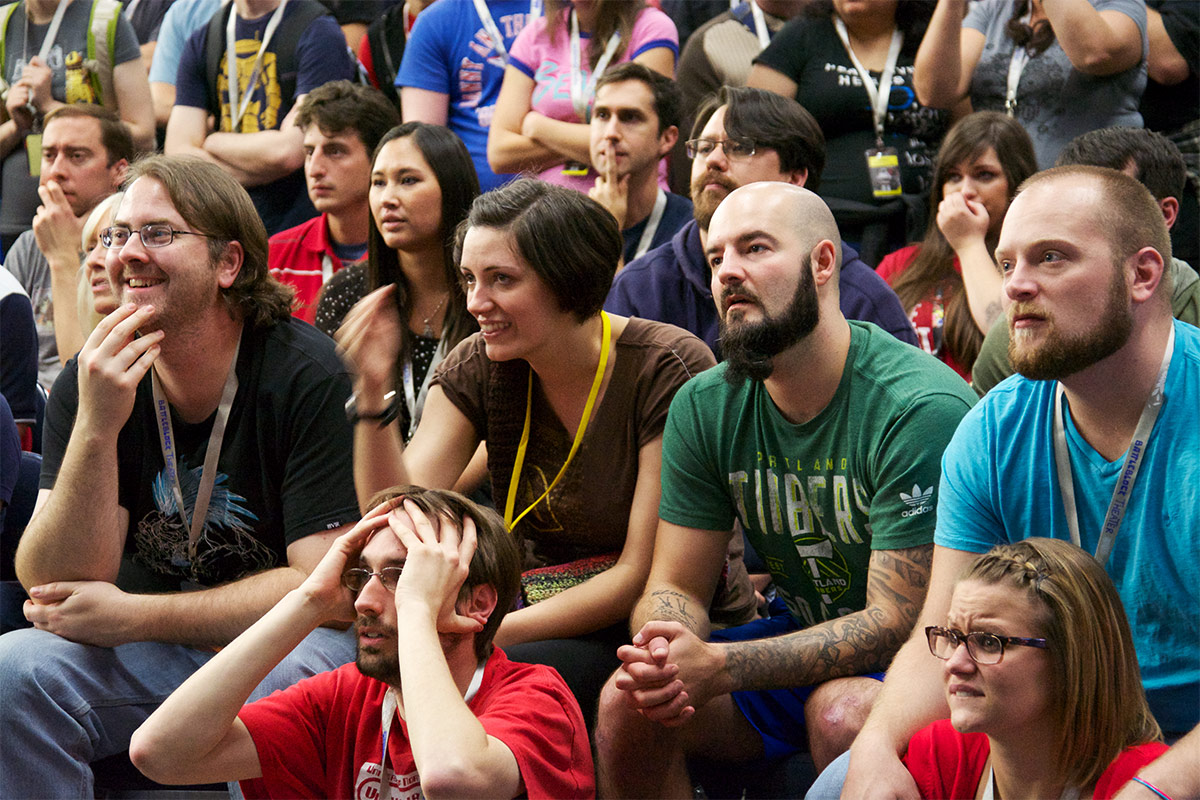Tetris masters look on at the final match in the 2013 Classic Tetris World Championship.