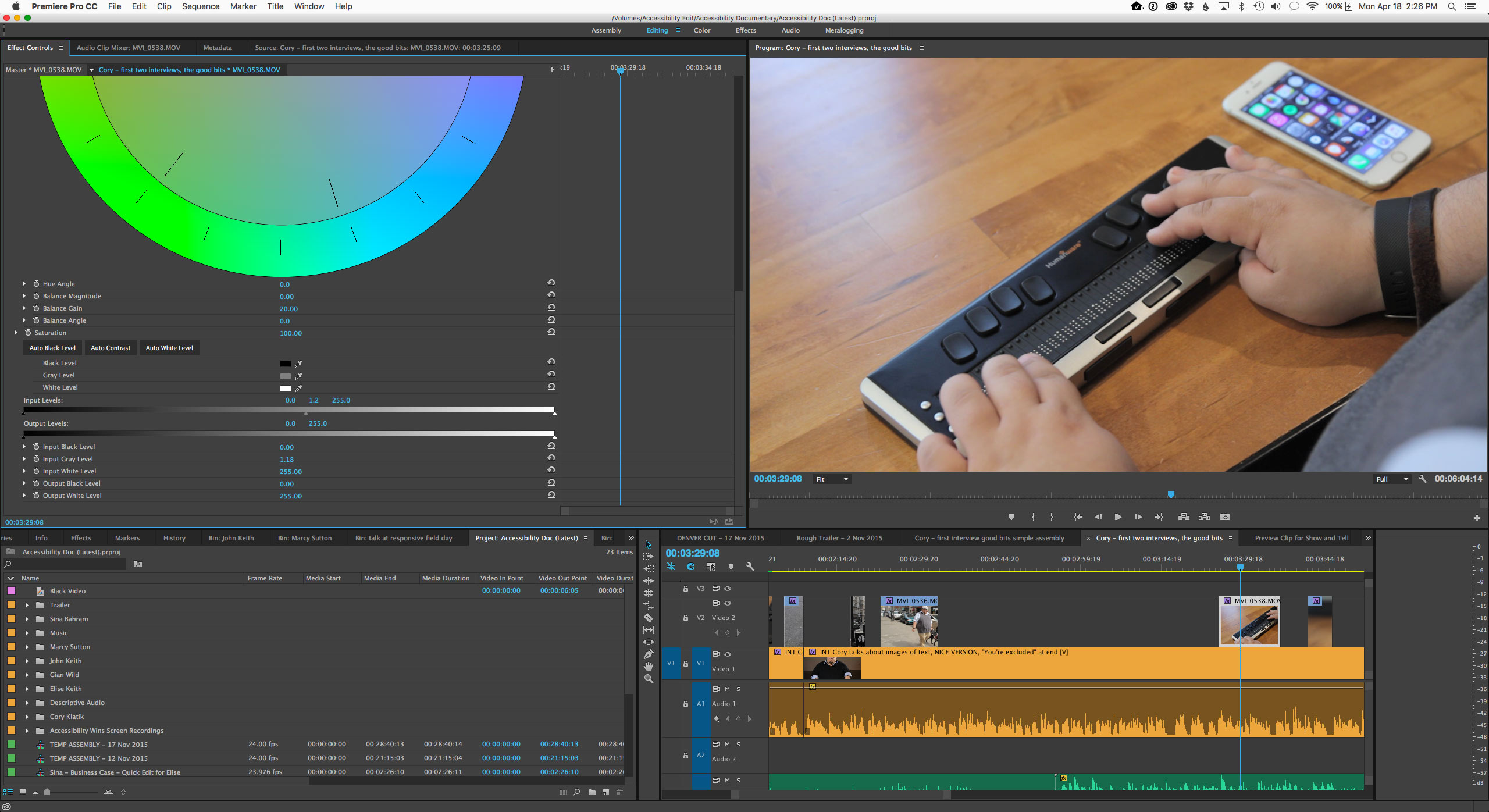 Screenshot: Editing video in Adobe Premiere. A braille keyboard is shown, along with an iPhone 6S.