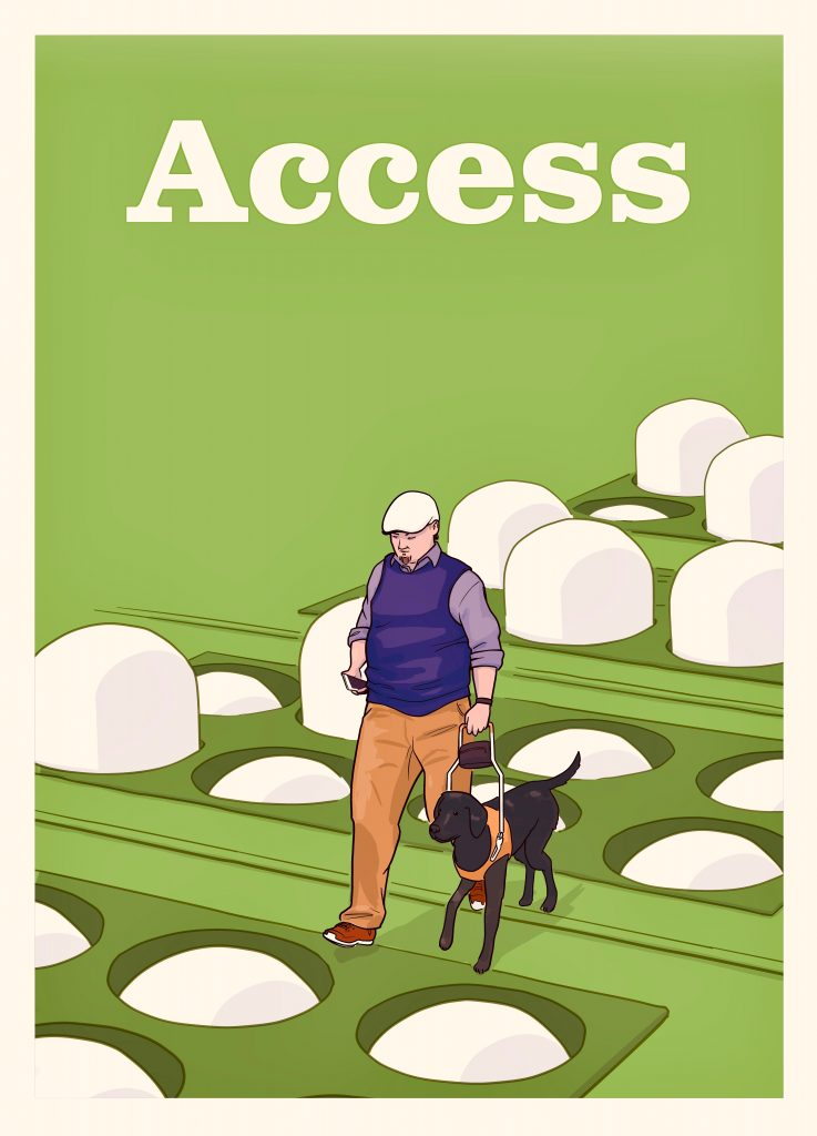 Movie poster with the large title Access. Beneath, it shows a man with a guide dog walks through a stylized braille display, with bumps in 8-dot braille rising and falling around him.